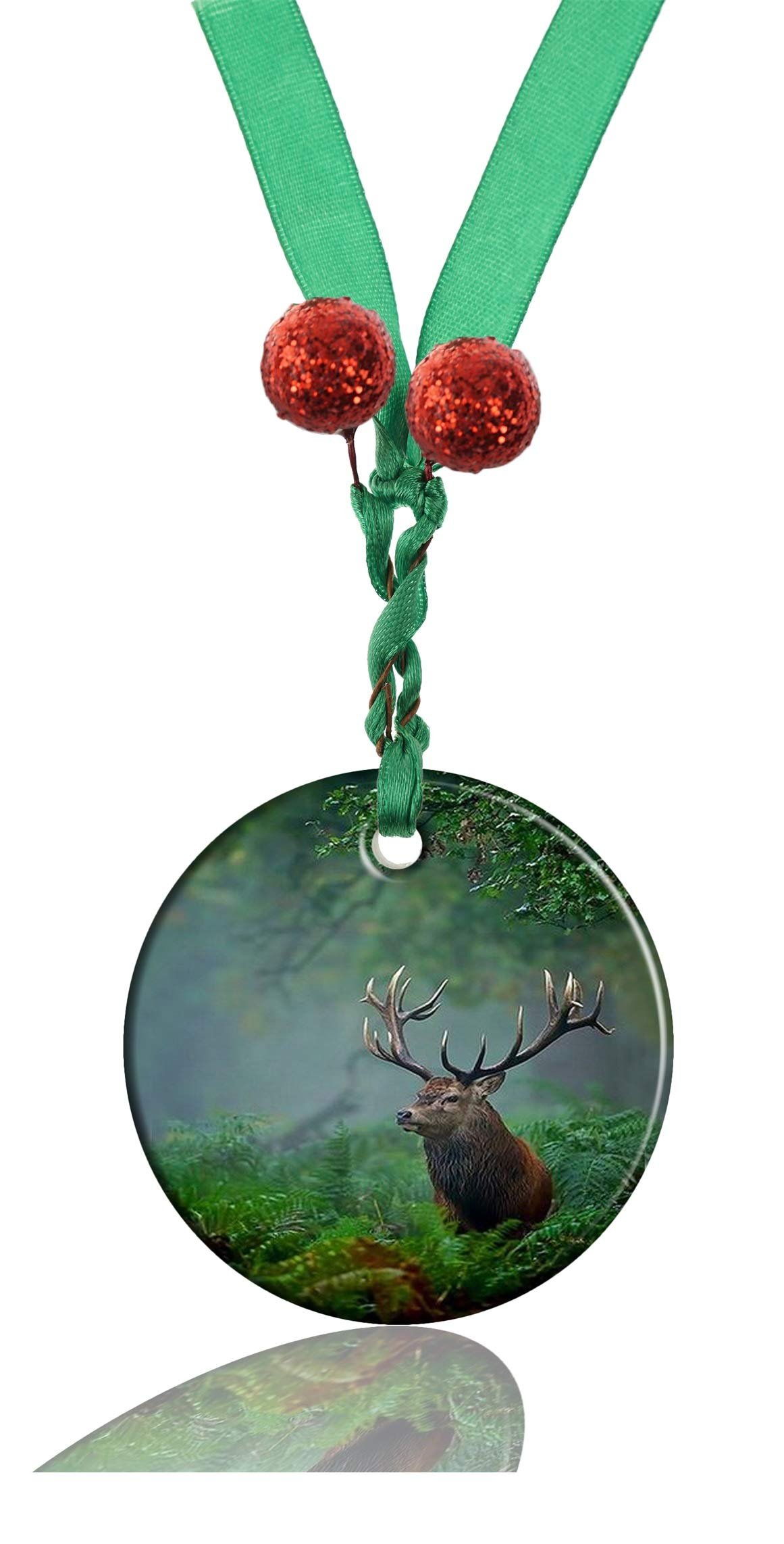 GDEE Custom Animal Deer Personalized Round Porcelain Ornaments Christmas Ornaments Home Decoration