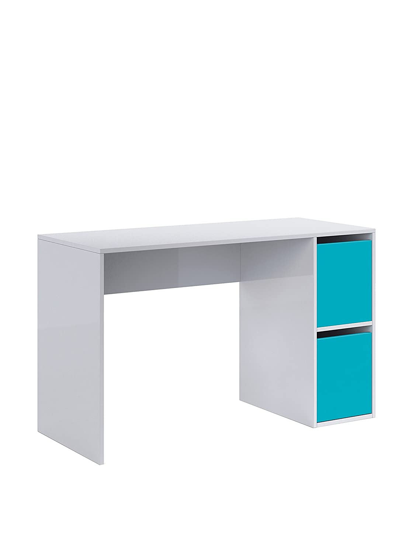 habitdesign abo mesa escritorio con puertas color blanco brillo y azul amazones hogar
