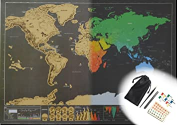 Amazoncom Mini Scratch Off World Map Poster Set With Accessories - Small world map poster