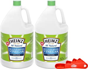 Heinz All Natural Multi-Purpose Cleaning Vinegar 1 Gallon Bottle (Pack of 2) with By The Cup Swivel Spoons