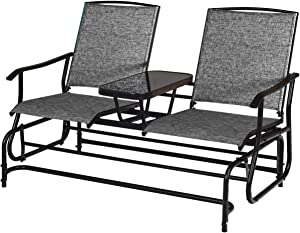 Giantex 2 Person Outdoor Double Glider Chair, Mesh Fabric Rocking Chair w/Center Tempered Glass Table, Rocking Loveseat for Patio, Garden, Poolside, Balcony (Gray)