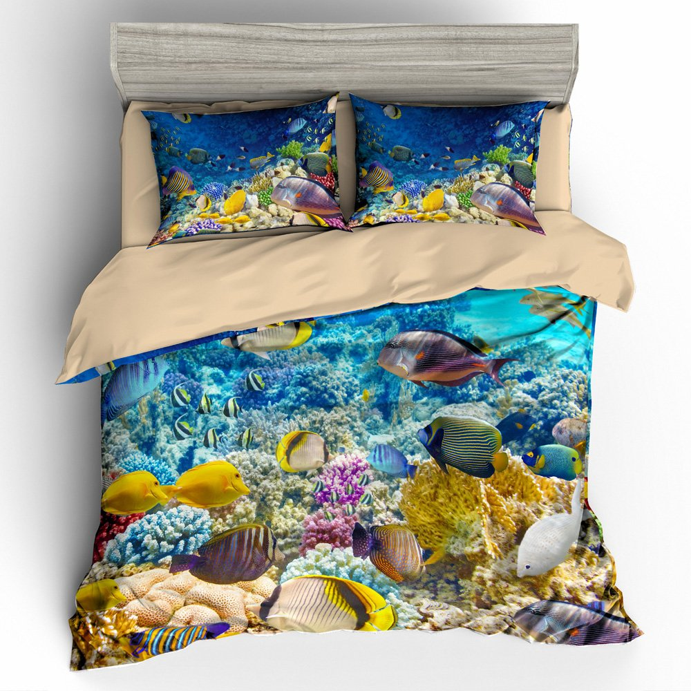 BOMCOM 3D Digital Printing Coral Reef Underwater Panorama with School of Colorful Tropical Fish 3-Piece Duvet Cover Sets 100% Microfiber Blue(QUEEN, Tropical Fish & Coral Reef)