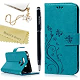 LG G5 Case (LG H868),Mavis's Diary Embossed Wallet Fashion Butterfly Floral PU Leather Protective Flip Folio & Hand Strap Card Slots Shockproof TPU Rubber Inner Cover & Bling Dust Plug & Stylus - Blue