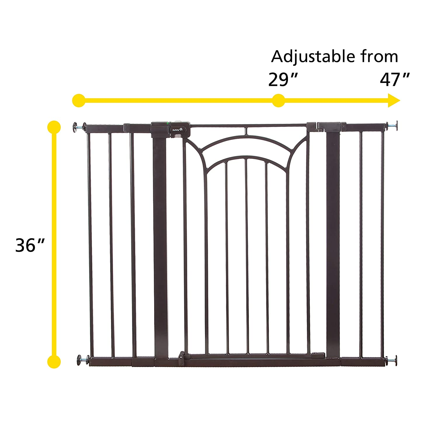 Safety 1st D cor Easy Install Tall Wide Baby Gate with Pressure Mount Fastening