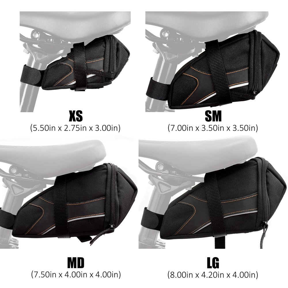 BV Bicycle Y-Series Strap-On Bike Saddle Bag Bicycle Seat Pack Bag, Cycling Wedge with Multi-Size Options