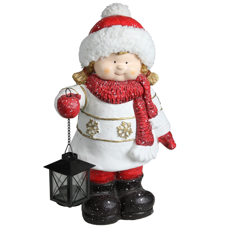 Northlight 16.50'' Christmas Morning Girl Holding Tealight Lantern Christmas Tabletop Figure