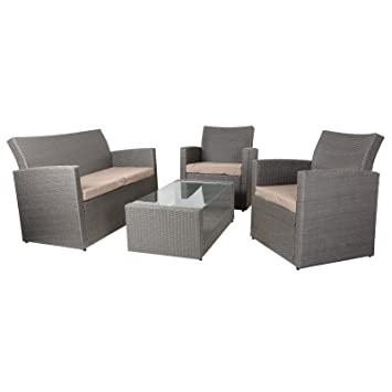 Azuma Set Of 4, Rattan, Model Tuscany, Garden, With Table, Chairs