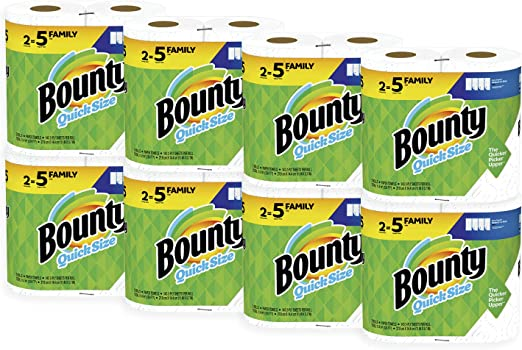Bounty Quick-Size Paper Towels, White, Family Rolls, 16 Count (Equal to 40 Regular Rolls)
