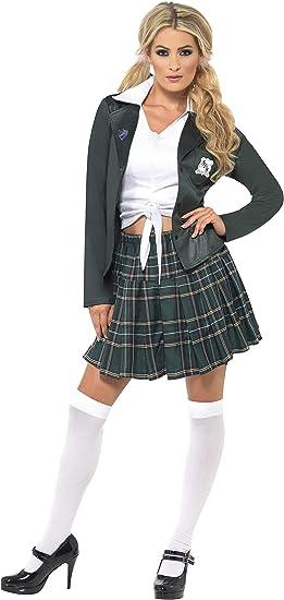 Smiffys-34167M Traje Escolar de Chica de Bachiller, con Camisa ...