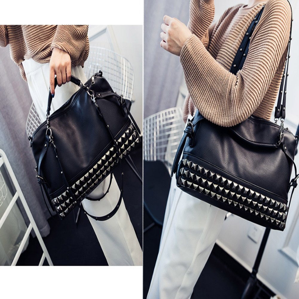 FiveloveTwo Women Middle Size Modern Punk Pu Leather Cross Body Rivet Top-handle Shoulder Bags Hobo Tote Satchel Handbags for Lady Black by FiveloveTwo (Image #6)