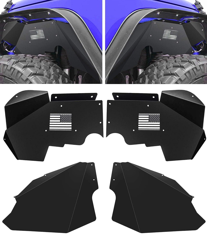 Bolaxin Lightweight Aluminum US Flag Logo Front Inner Fender Liners for 2007-2018 Jeep Wrangler JK JKU 4WD (4WD-Front Inner Fender Liners)