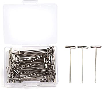 Mudder 70 Pack Wig T-Pins 2 Inch with Plastic Box Silver