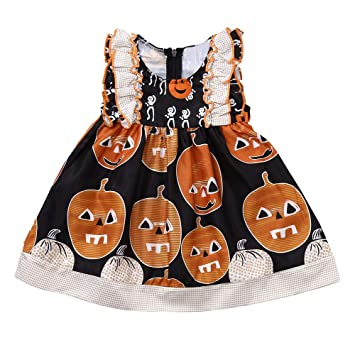 a25607045da5 Amazon.com: Toddler Baby Girls Dress,Infant Kinds Pumpkin Print Ruched Dresses  Halloween Costume Outfits (0-6 Months, Black): Beauty