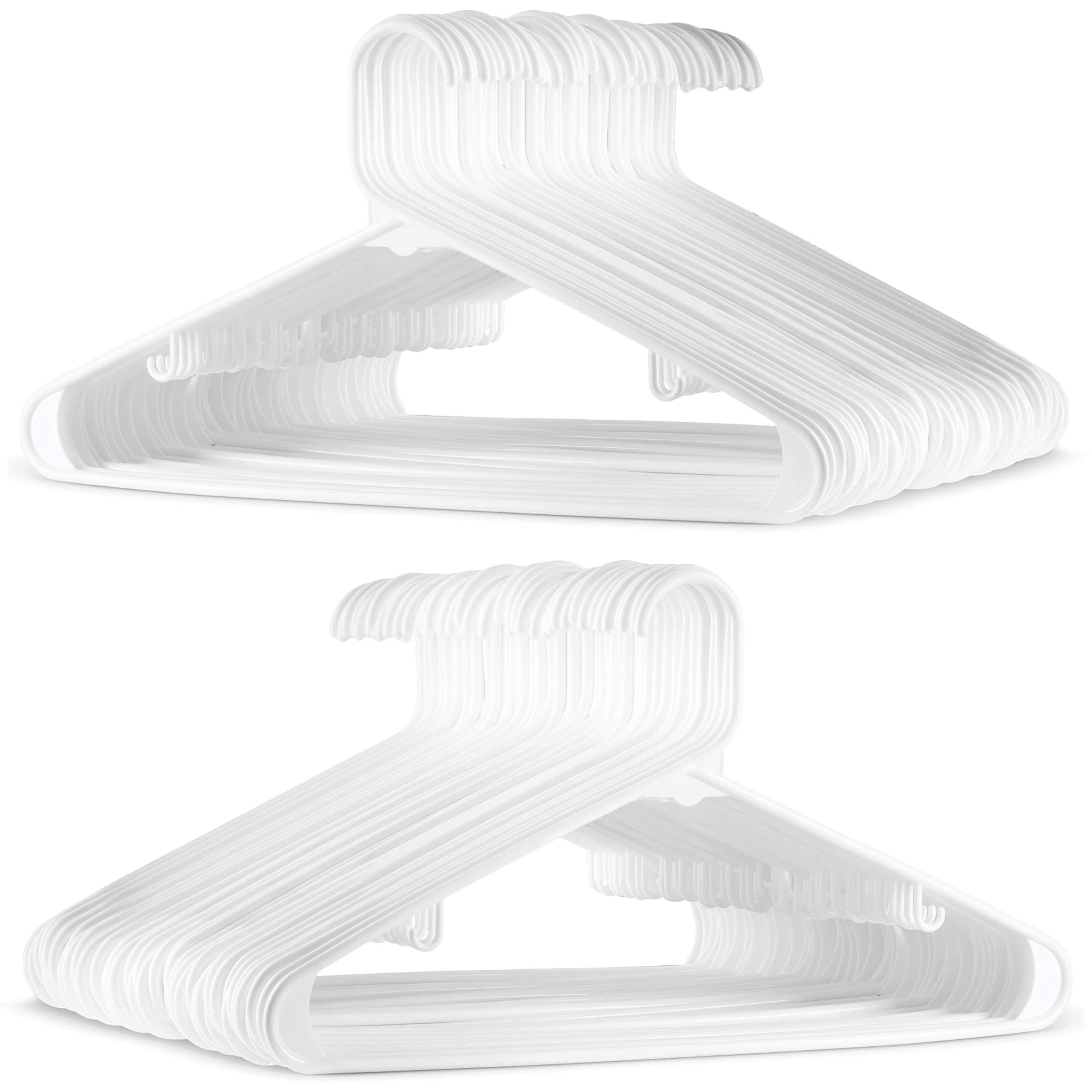 White Standard Plastic Hangers (60 PACK) Long Lasting Tubular Coat Hangers Plastic, Laundry & Dorm Room Hanger, Durable, Slim & Space Saving, Heavy Duty Clothes Hanger, Dress Notches, Strong Pants Bar by ZOBER