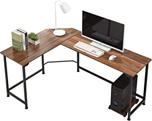 VECELO Modern L-Shaped Corner Computer Desk with CPU Stand/PC Laptop Study Writing Table Workstation for Home Office Wood & Metal, Dark Walnut