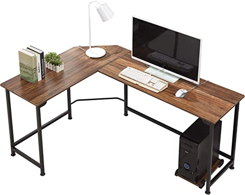 VECELO Modern L-Shaped Corner Computer Desk with CPU Stand PC Laptop Study Writing Table Workstation for Home Office Wood Metal, Dark Walnut Black Leg