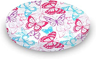 product image for SheetWorld 100% Cotton Jersey Round Crib Sheet, Butterflies, 42 x 42, Made in USA
