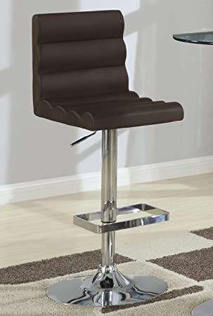 Coaster Contemporary Brown Adjustable Roll Back Bar Stool