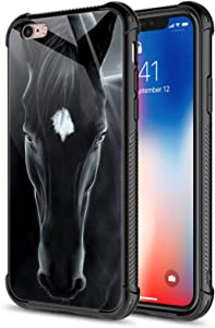 CARLOCA iPhone 6S Plus Case,Black Horse iPhone 6 Plus Cases for Girls Boys,Graphic Design Shockproof Anti-Scratch Drop Protection Case for Apple iPhone 6/6S Plus