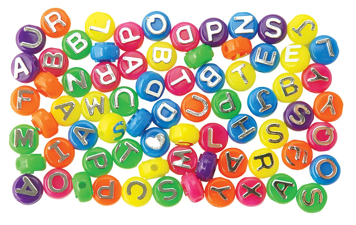 Neon with Silver 1197SV077G The Beadery 4-Ounce Bag of Mixed Alphabet Beads