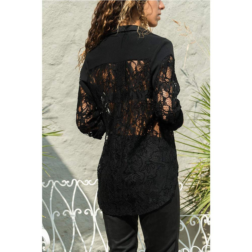Orangeskycn Women Shirt Long Sleeve Lace Hollow Button Up Front Pocket Tops
