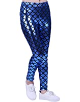 HDE Girl's Shiny Mermaid Leggings Metallic Fish Scale Tights Mermaid Costume