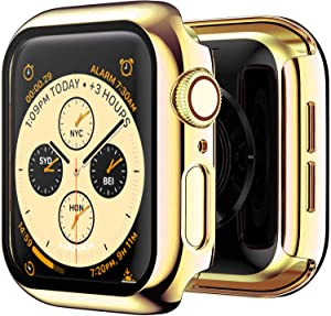 HANKN 2 Pack Plated Tempered Glass Screen Protector Gold Case Compatible with Apple Watch Series 3 2 1 42mm, Hard PC Full Coverage Cover HD Clear Shockproof Iwatch Bumper (Gold+Gold, 42mm)