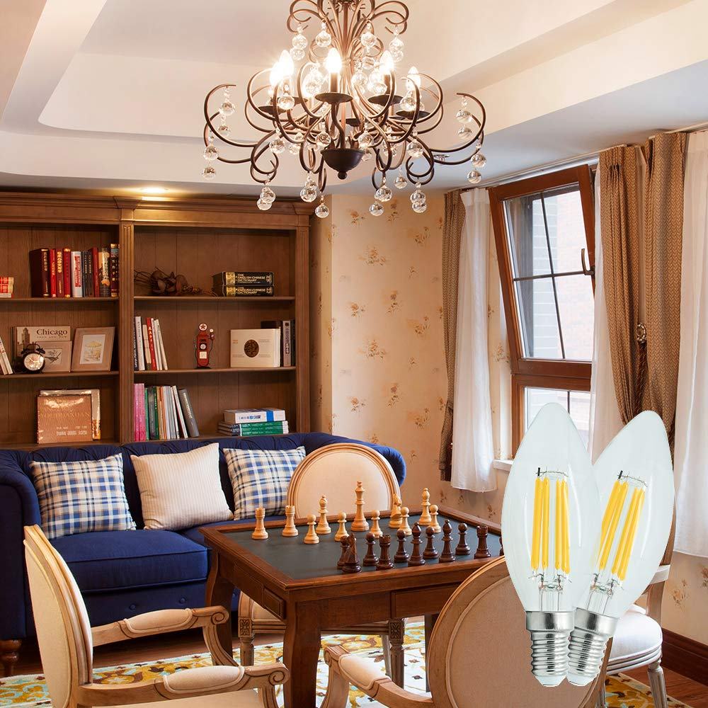 6W 110V Living Room 4Pack 550LM,Warm White Dimmable 3000K For Ceiling Fan DingDian E12 LED Classic Candelabra Clear Light Bulbs Equivalent 60W