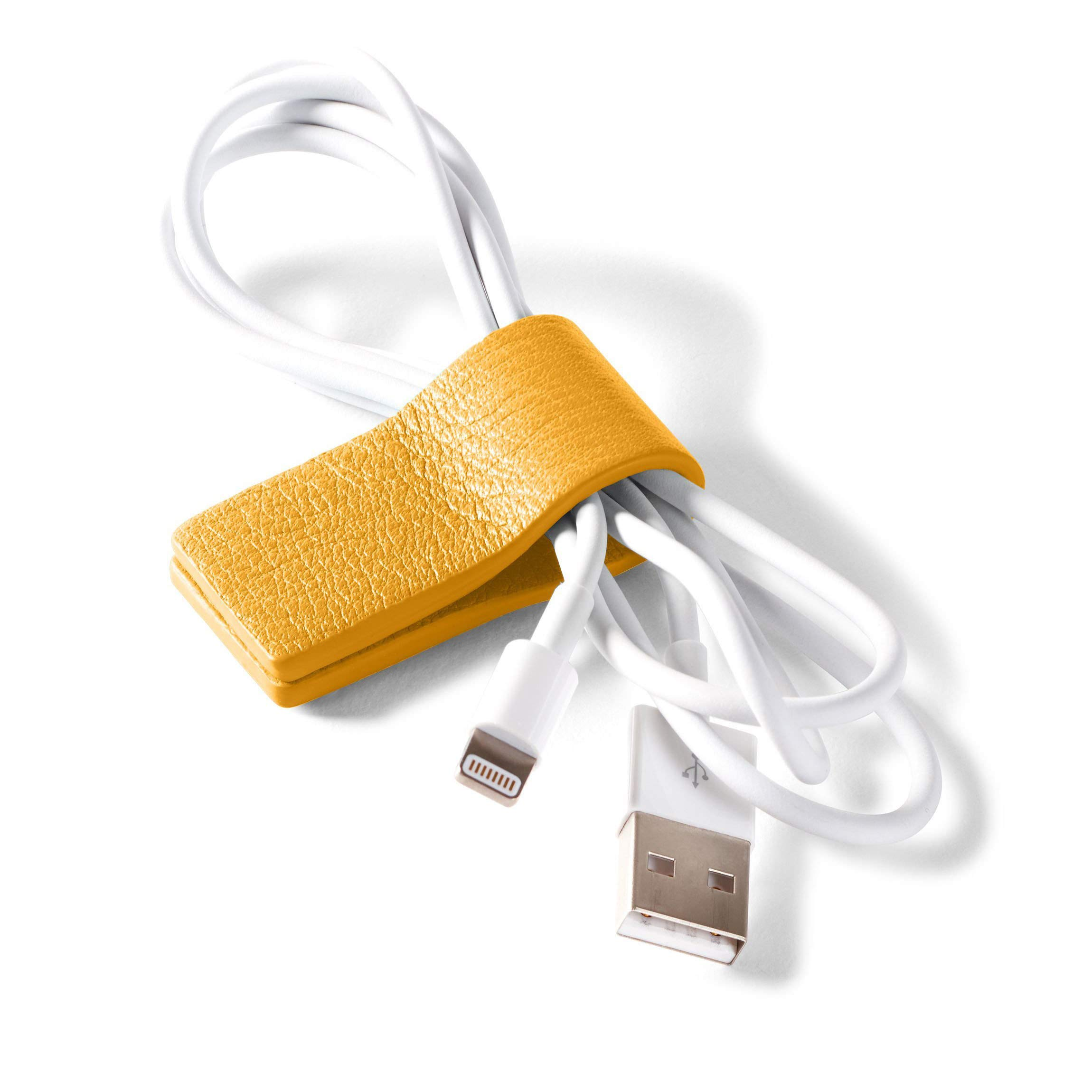 Cord Wrap - Full Grain Leather Leather - Turmeric (Yellow)