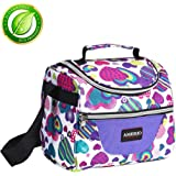 kids Lunch Bag , Adult Lunch Box For Work Men/Women /Kids with Adjustable Strap and Zip Closure Travel Lunch Tote, Front Pocket (purple)