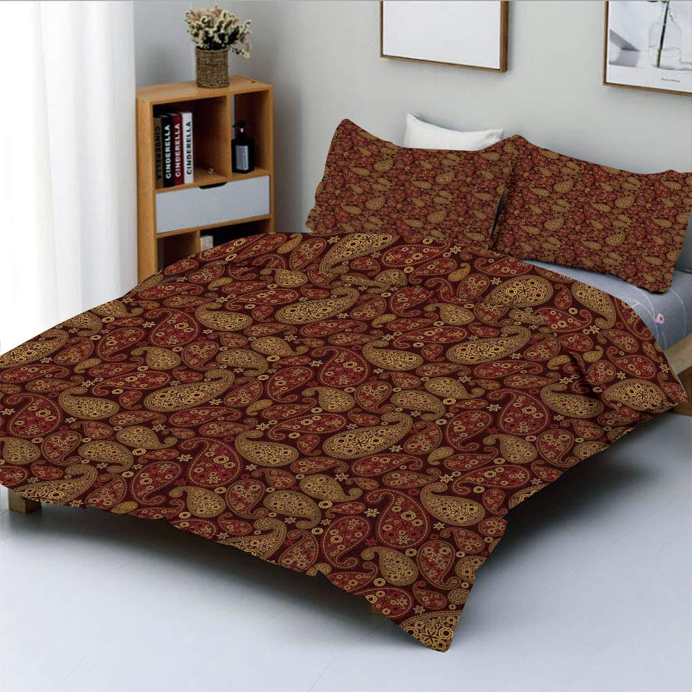 Duplex Print Duvet Cover Set King Size,Oriental Damask Ethnic Leaves Middle Age Ottoman Art Inspired Boho Design DecorativeDecorative 3 Piece Bedding Set with 2 Pillow Sham,Redwood and Amber,Best Gift