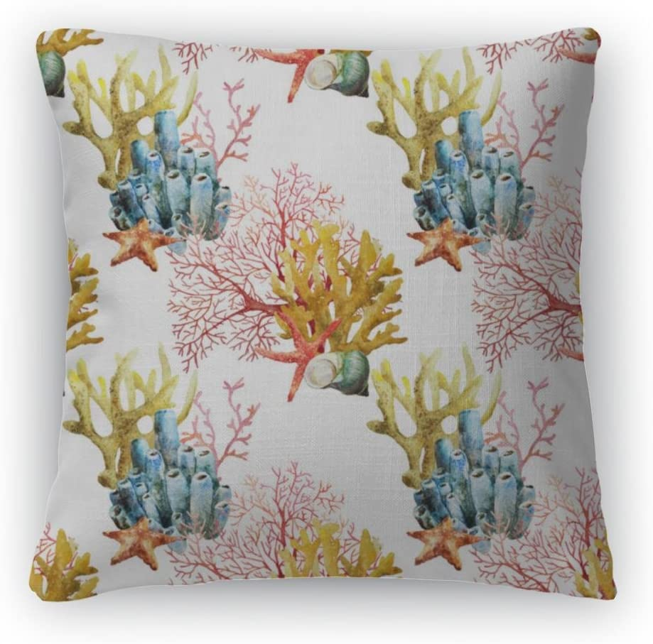 Gear New Throw Pillow, 26×26, Watercolor Corals Set and Ocean Sponge