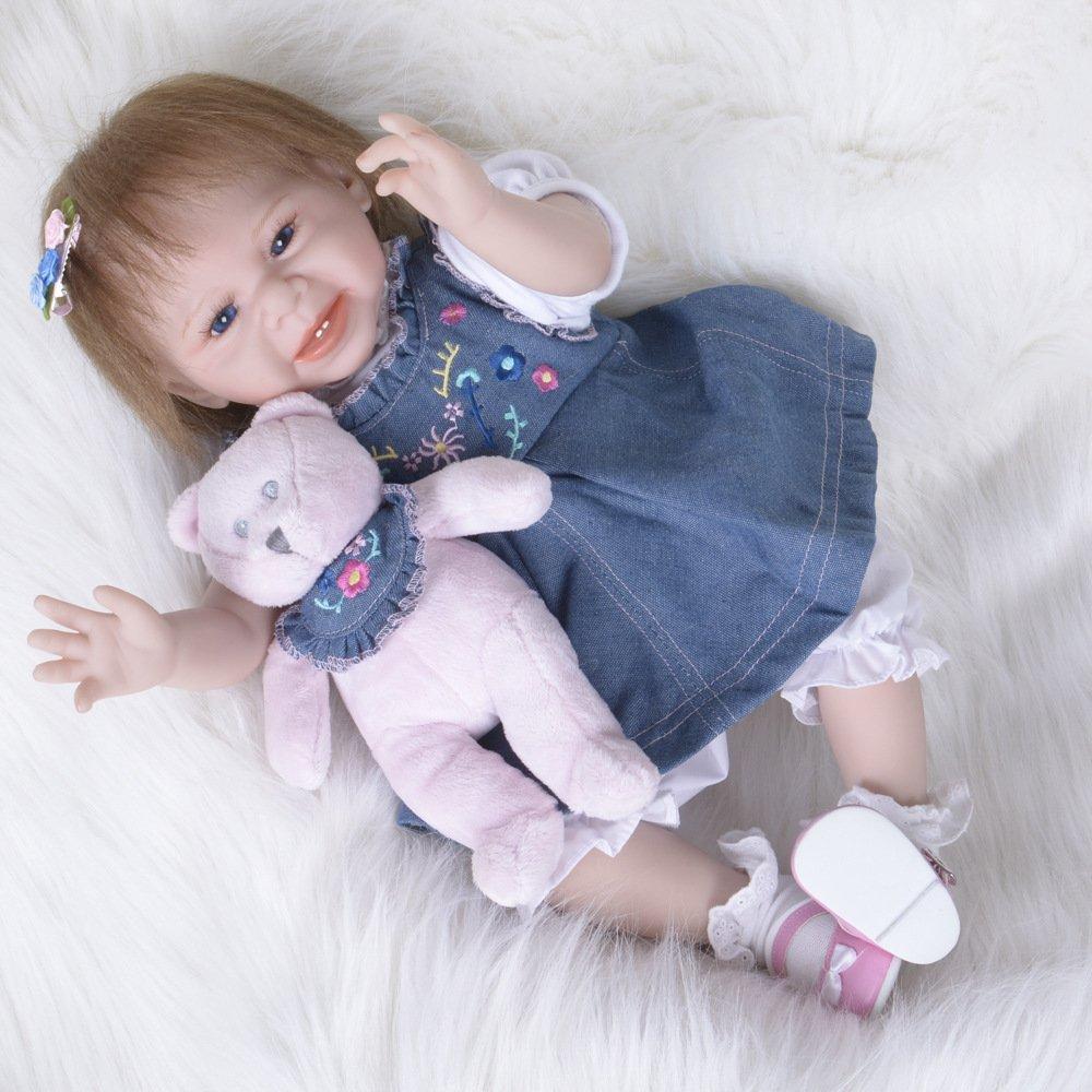 GAOYY Reborn Puppe Simulation Puppe Silikon Kinder Spielzeug 55 cm Blaue Augen,A