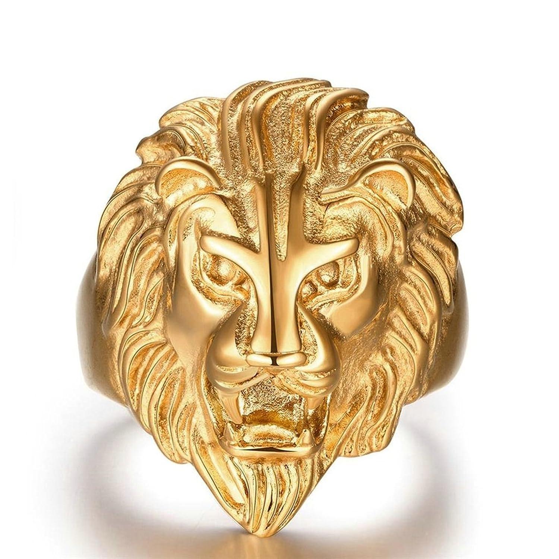 Gold Plated Ring, Men\'s Finger Ring Lion Head Gold Epinki | Amazon.com