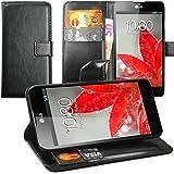 Original Lanboo® Wallet / Buch Tasche mit Magnetverschluss für LG Optimus G - E975 - schwarz