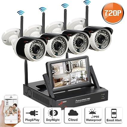 Swinway Sistema de CCTV inalámbrico para el hogar Cámara de seguridad al aire libre con monitor
