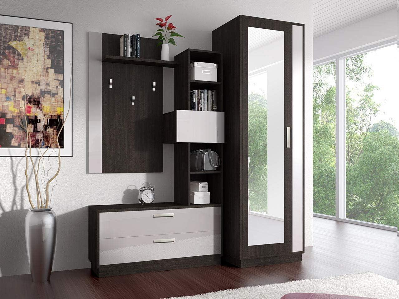 Mali Eiche//Wei/ß Hochglanz mit Kleiderst/änder Design Idzczak Meble Garderobe Zac Garderoben-Set Hochglanz Schuhschrank