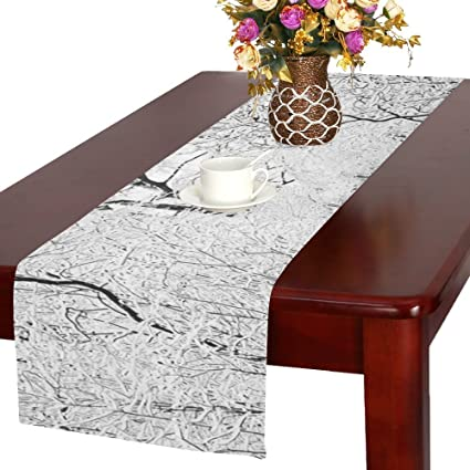 Amazon com: JC-Dress Table Runner Forest Tree In White Snow