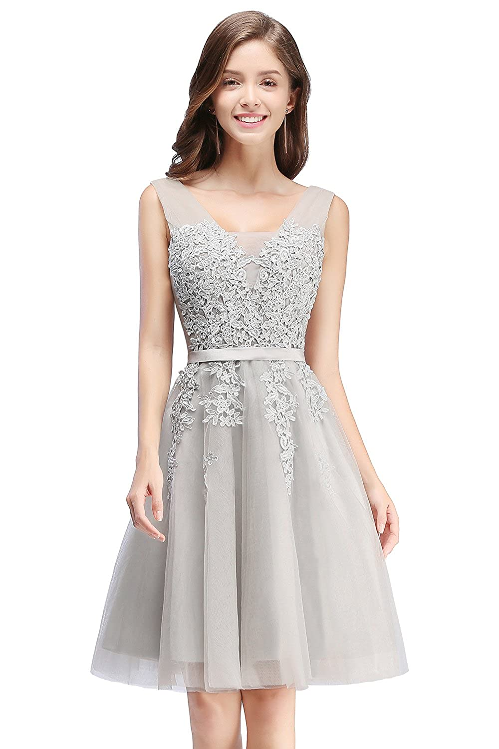 Babyonlinedress Tulle Lace Applique Junior's Formal Cocktail Homecoming Dresses
