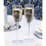 Victoria Lynn Bride and Groom Double Heart Wedding Toasting Glasses 8""