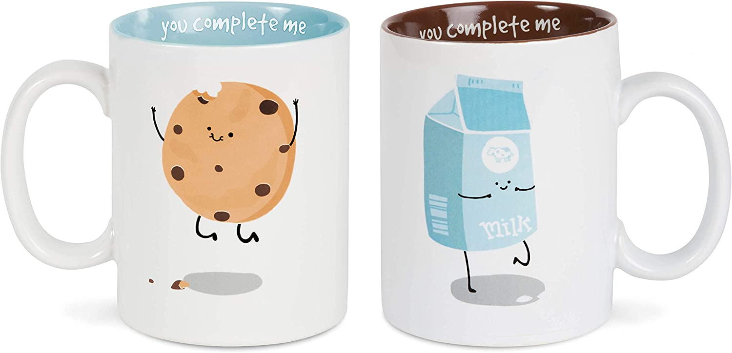 Pavilion Gift Company Milk & Cookies Complimentary Dishwasher Safe Coffee Mugs, 18 oz, Multicolor