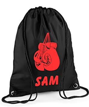 Personalised Boxing Gloves Drawstring PE Gym Bag Choice Of Colours By Mayzie