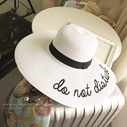d14d478d4ff8b3 Image Unavailable. Image not available for. Color: WEEKEND SHOP Embroidery  Cap Big Brim Ladies Summer Straw Hat Youth Hats for Women Shade Sun