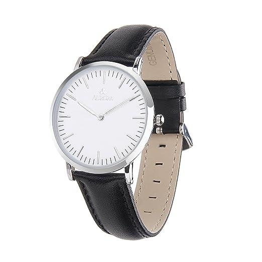 Aurora Watch Relojes Hombre Pulsera de Cuero Negro Reloj hombres: Amazon.es: Relojes