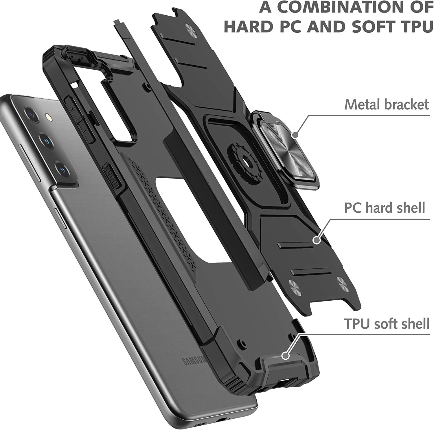 S21 6.2 Inches S21 Case Kickstand Cases with Metal Back for Magnetic Car Mount Shockproof Anti-Drop Phone Case Compatible with Samsung Galaxy S21 Black