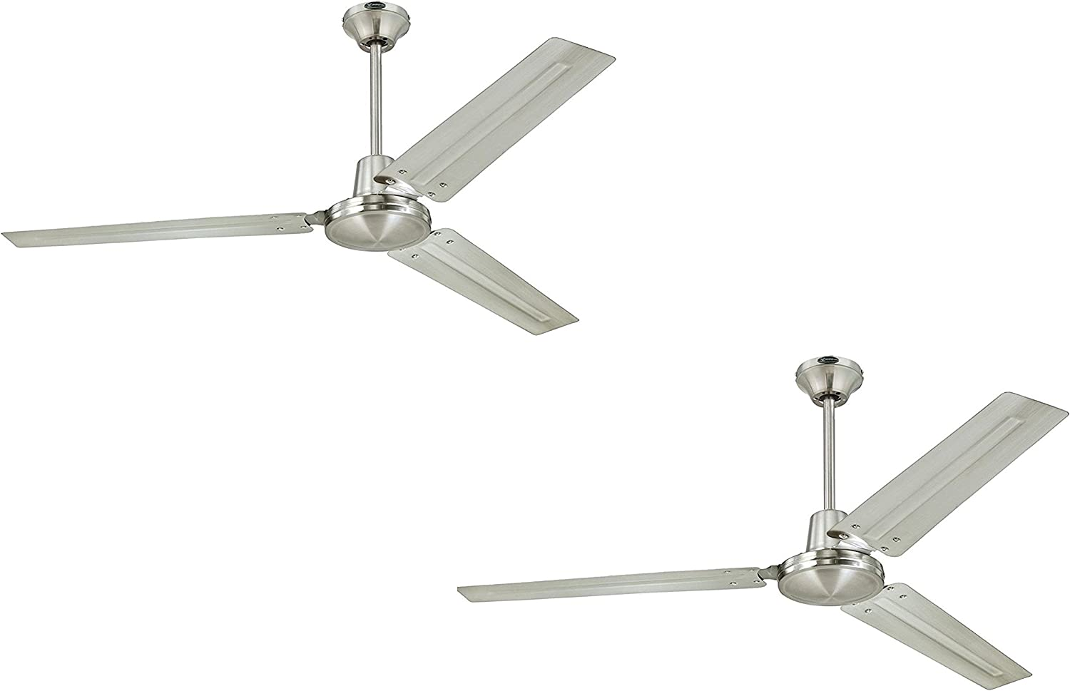 Ciata Lighting Industrial 56 Inch Three Blade Indoor Ceiling Fan, with Brushed Nickel Steel Blades in Brushed Nickel Finish – 2 Pack