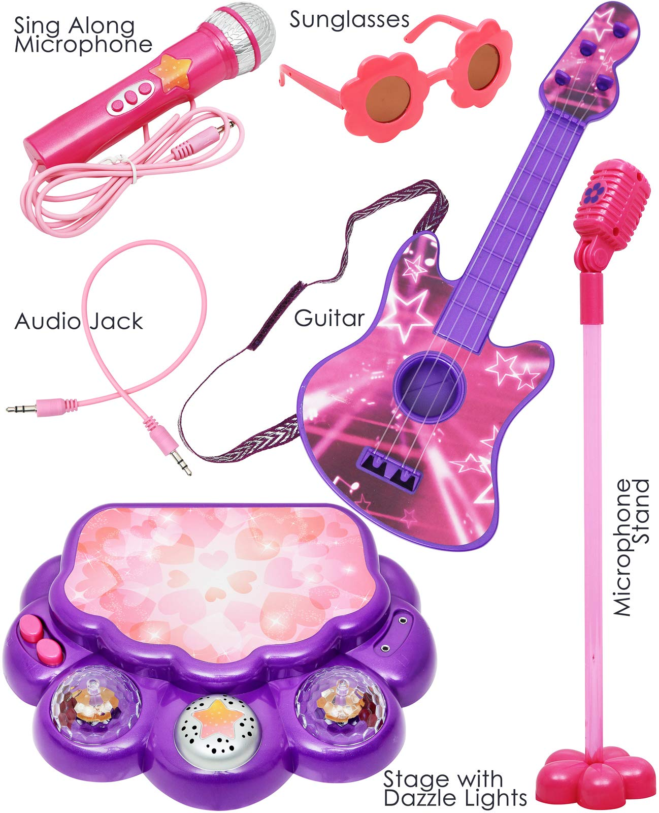 Kids Doll Interacting Toy Karaoke Machine Performance Stage Disco LED Lights, Guitar, Microphone with Stand Sunglasses Smartphone MP3 Connectivity Sing-Along Perfect For 18 inch American Girl Dolls by Click N' Play (Image #2)