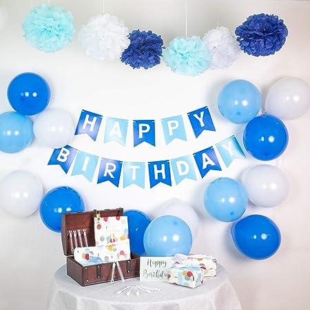 infinimo Decoracion de cumpleaños Azul Blanco ✮ Feliz ...