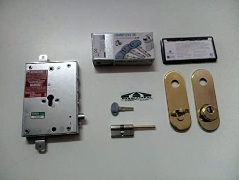 Kit Cerradura Puerta Blindada a Cilindro europeo atra-dierre 3 pasadores con placa larga,