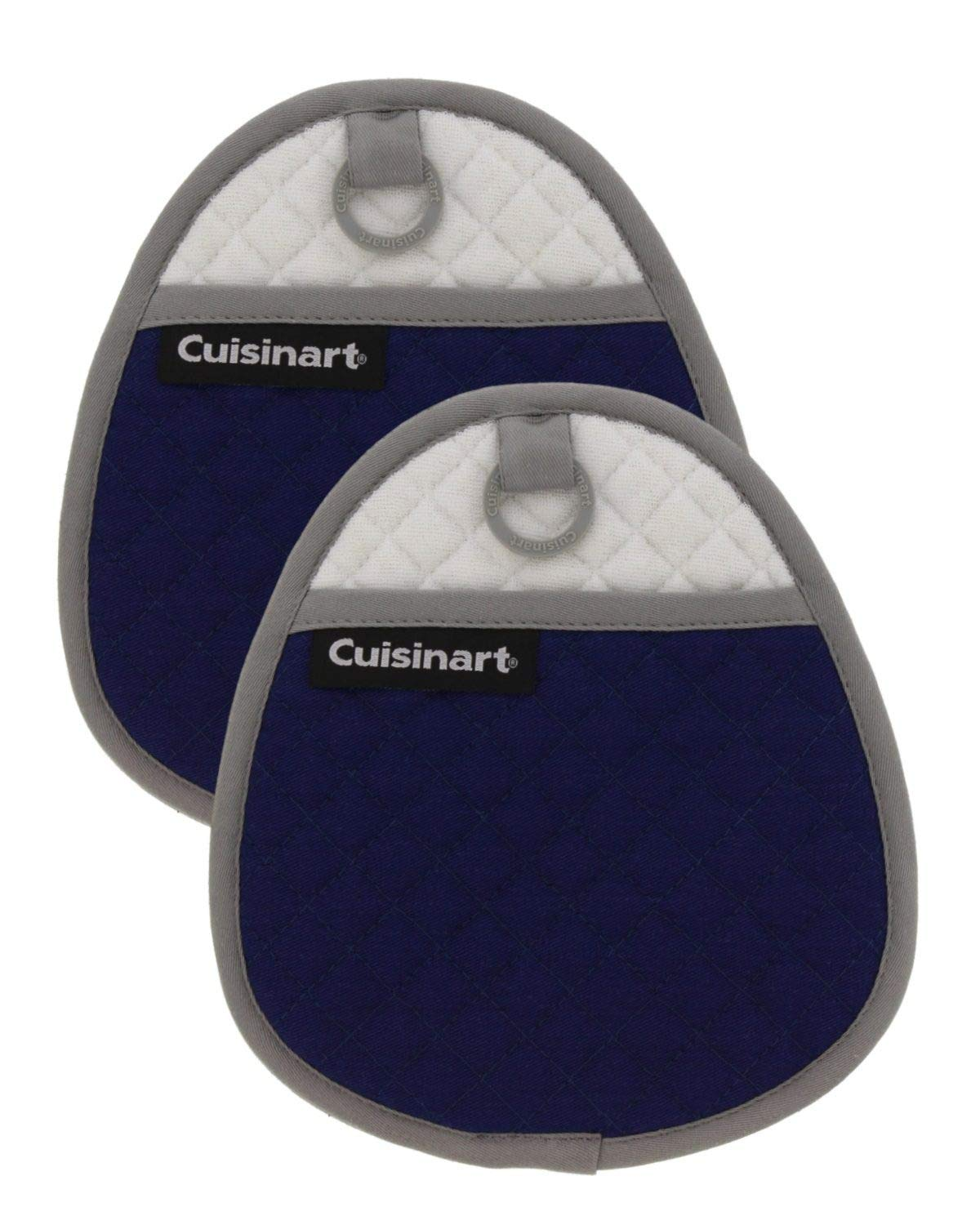 Cuisinart Quilted Silicone Potholders & Oven Mitts - Heat Resistant up to 500° F, Handle Hot Oven/Cooking Items Safely - Soft Insulated Pockets, Non-Slip Grip w/Hanging Loop, Navy Aura- 2pk